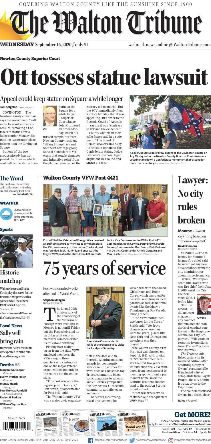 Walton Tribune Front Page Sept. 16, 2020