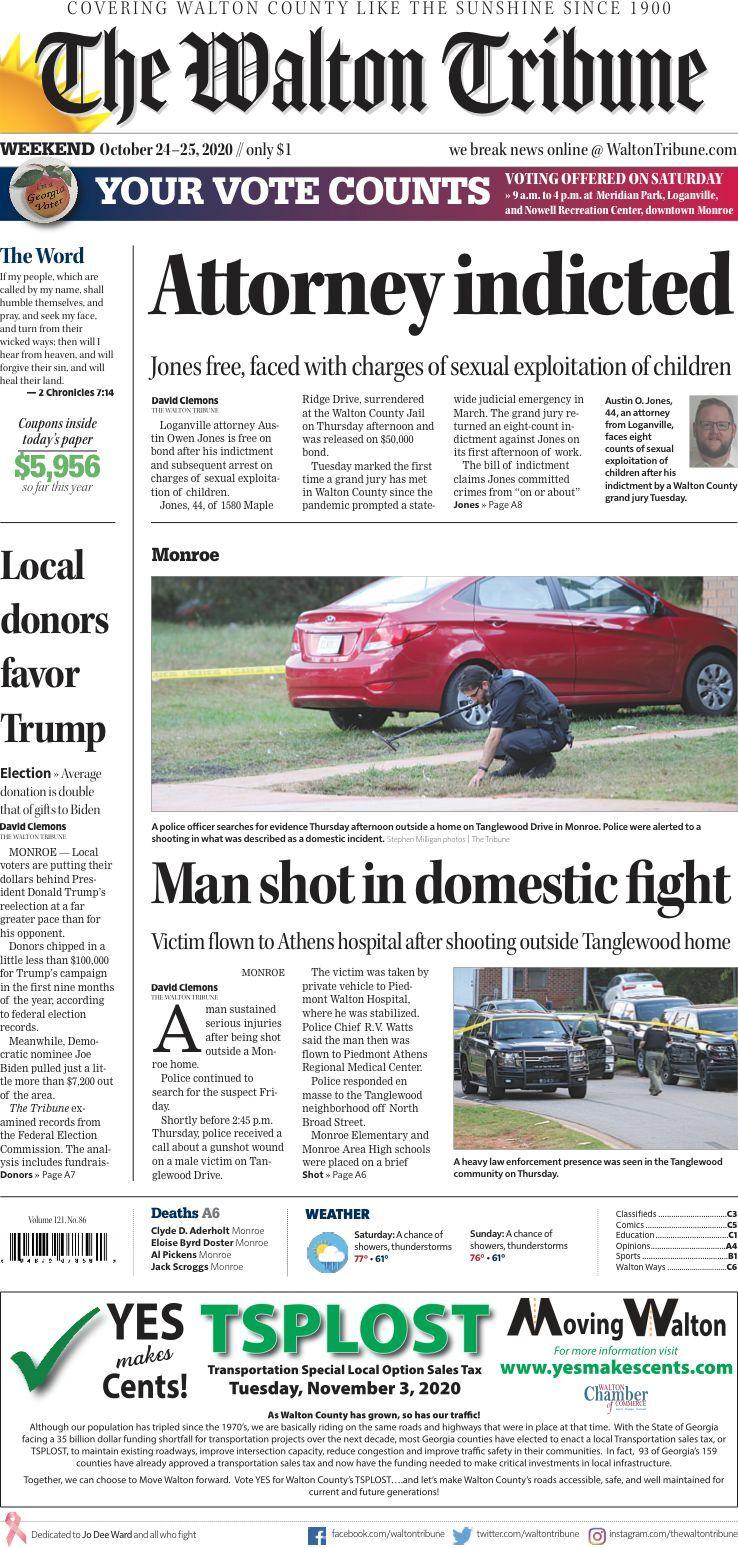 Walton Tribune Front Page Oct. 24-25, 2020