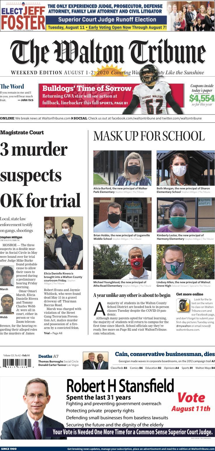 Walton Tribune Front Page Aug. 1-2, 2020