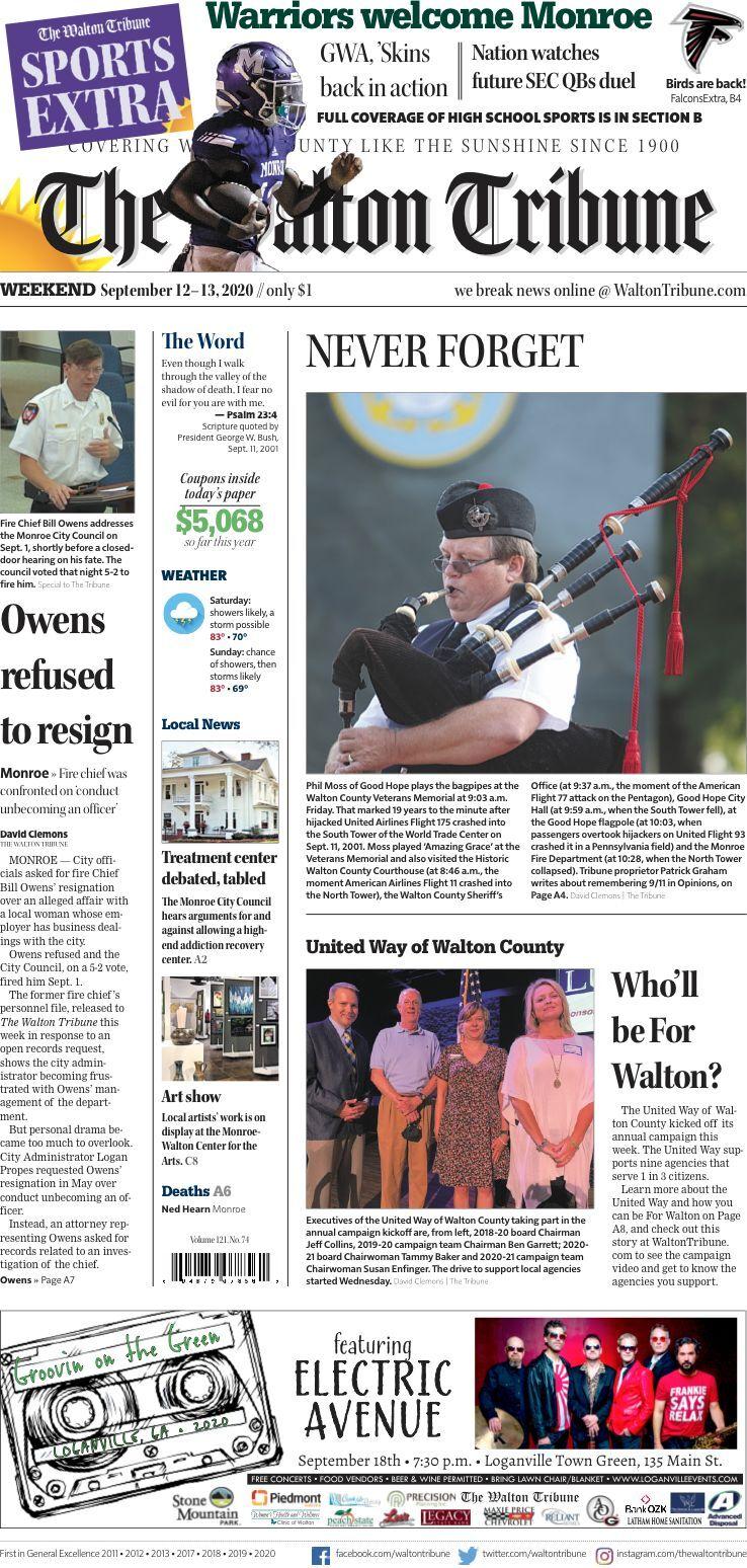 Walton Tribune Front Page Sept. 12-13, 2020