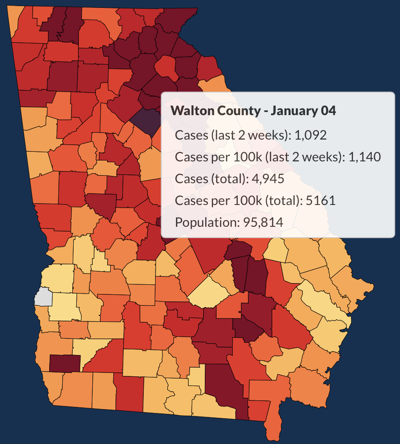 COVID-19 in Walton County on Monday, Jan. 4, 2021