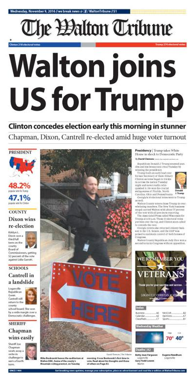 Wednesday, Nov. 9, 2016, Front Page