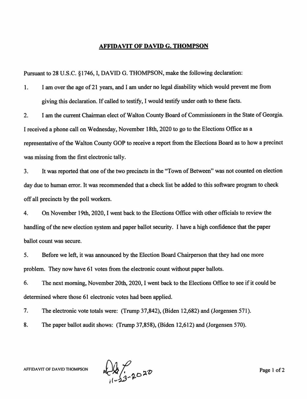 David Thompson Affidavit Nov. 23, 2020