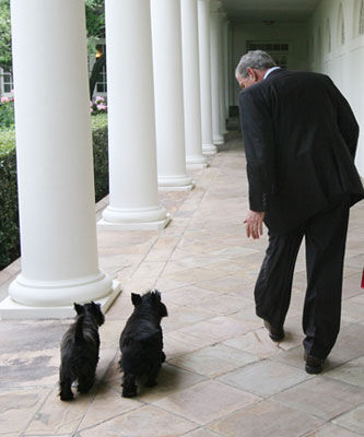 President Bush, Barney and Miss Beazley