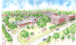 <p>Sketches of the Veterans Walk project show multiple types of housing clustered around a refurbished American Legion building. Parks, a pool and other amenities will be part the 17 acre neighborhood. The project is headed by Paul Rosenthal, a local lawyer and developer. The Monroe City Council will consider a re-zone on the lot at next week's meeting.</p>