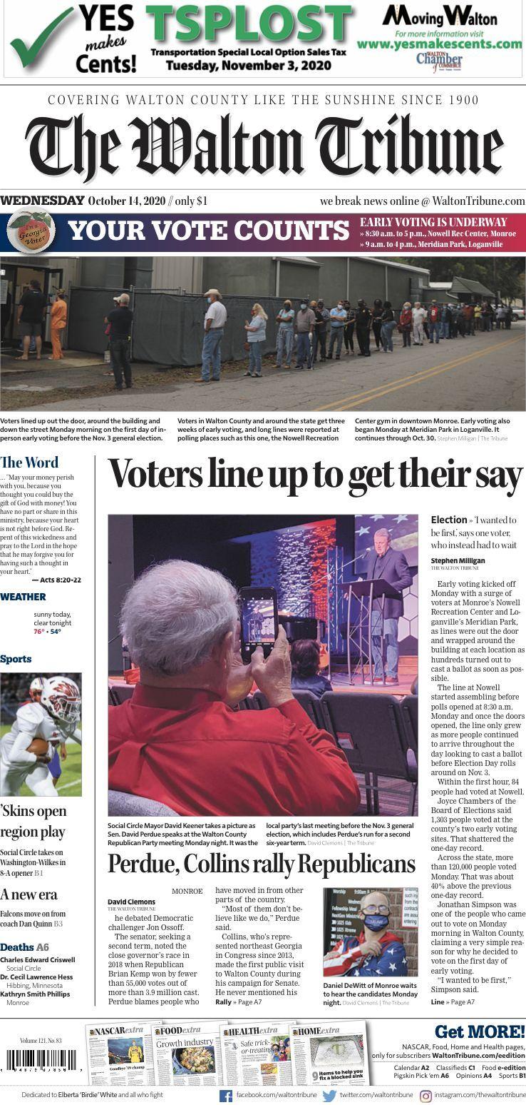 Walton Tribune Front Page Oct. 14, 2020