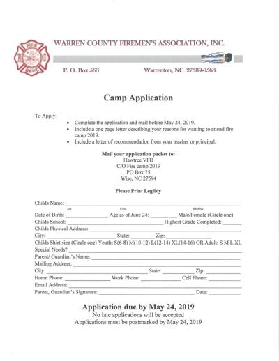 2019 Junior Fire Camp Application