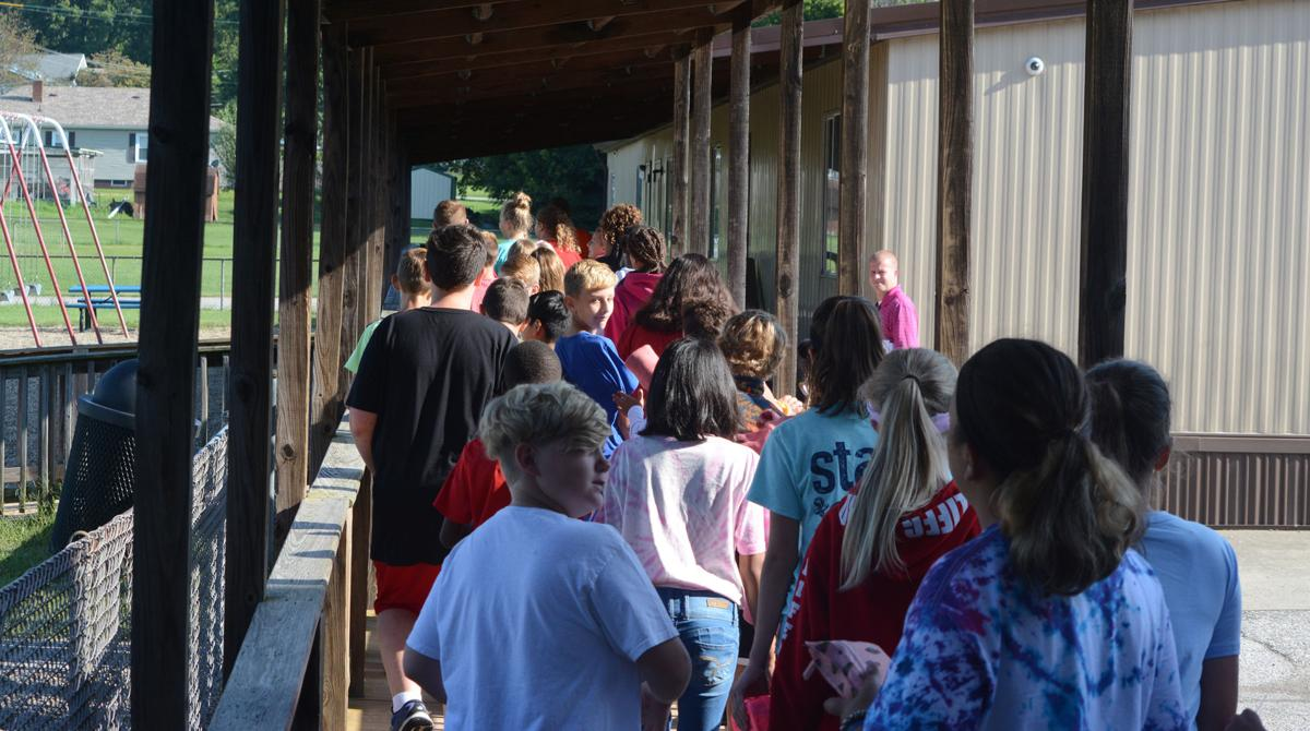 Walking to portable classrooms