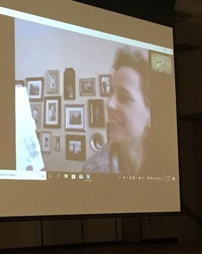 Author April Jones Prince Skypes in to visit NDE fifth grade