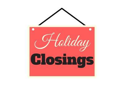 WTH Graphics Holiday Closings