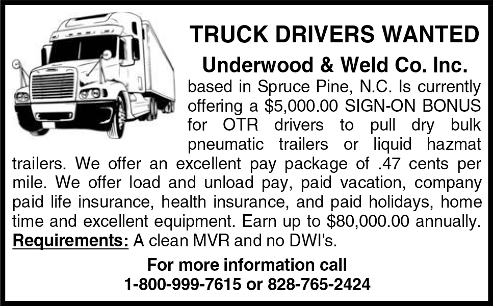 Underwood & Weld Co. Inc., NOW HIRING!!