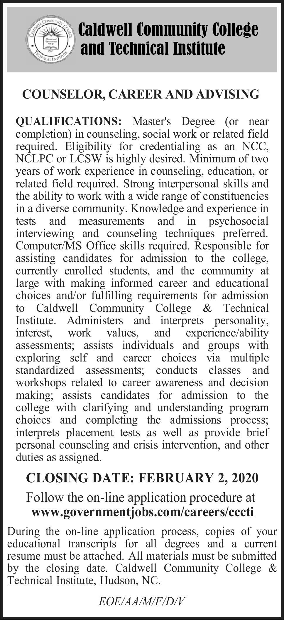 Counselor, Career and Advising Position