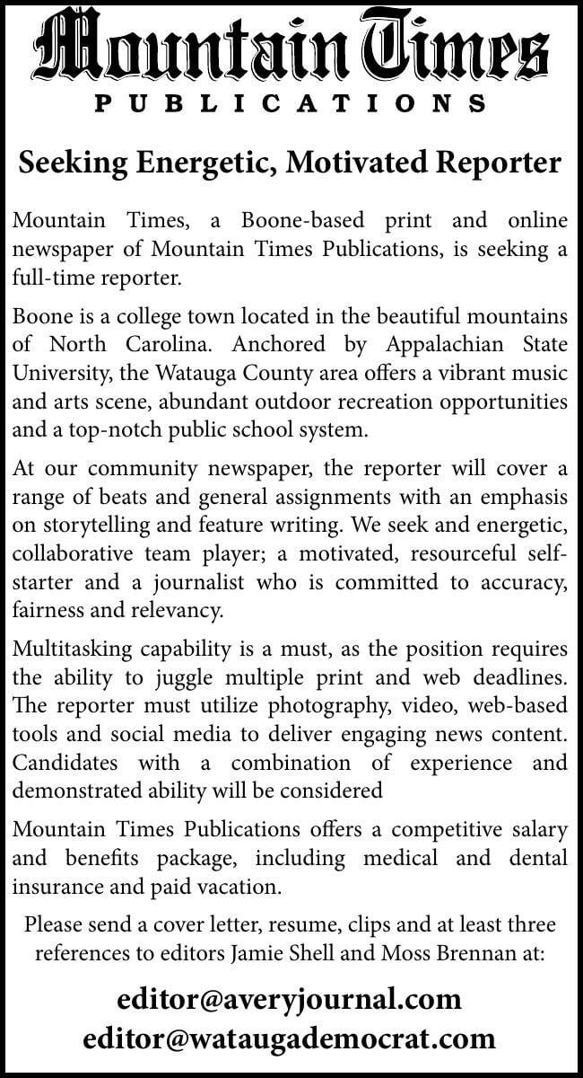 Seeking Energetic, Motivated Reporter