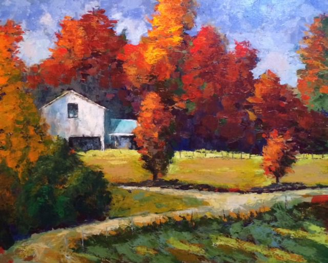 'Harvest Time' (24 x 30) in oils using only a palette knife by Amos Westmoreland is on display at Alta Vista Gallery in Valle Crucis.
