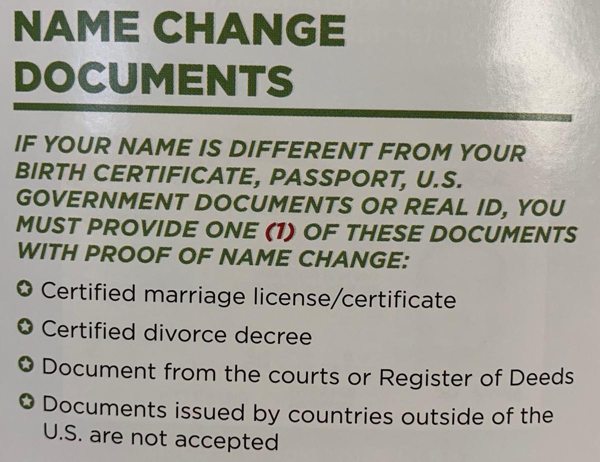 Name change documents