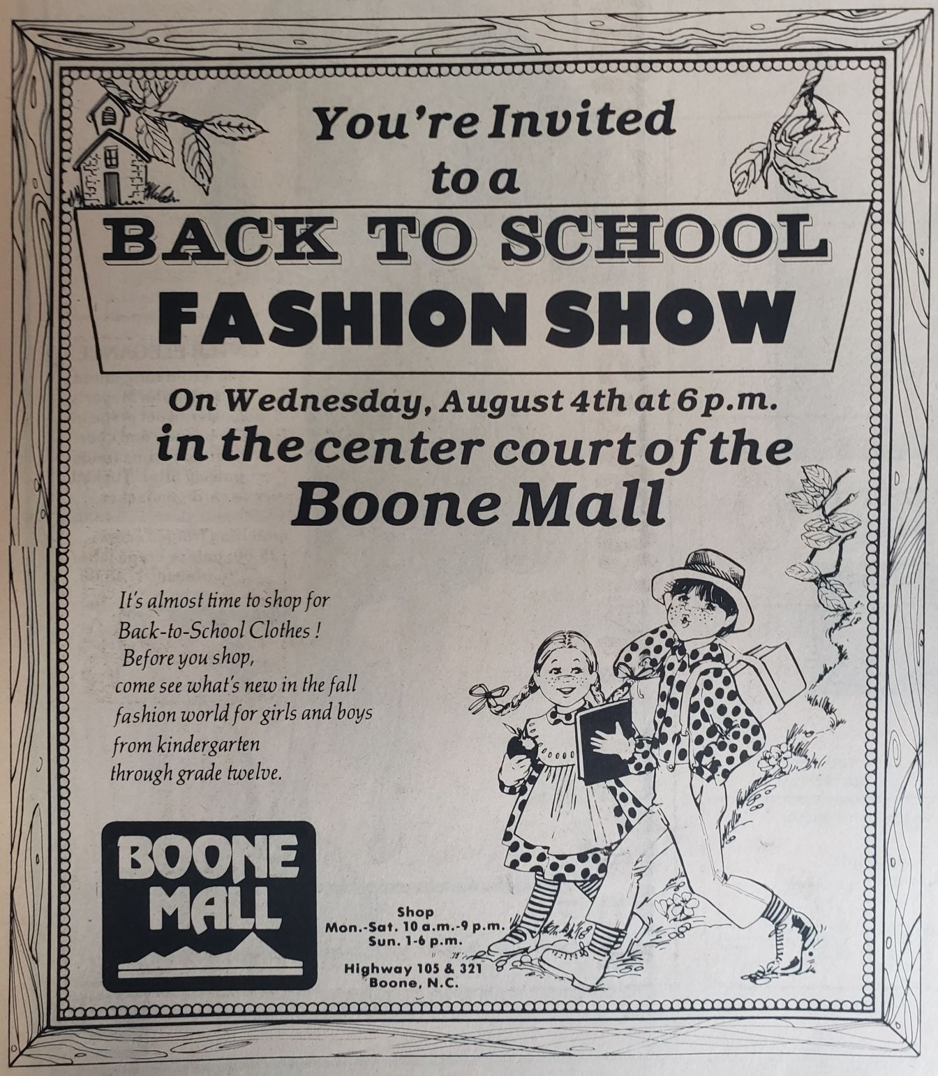 An advertisement for a 1982 back to school fashion show in the Boone mall.