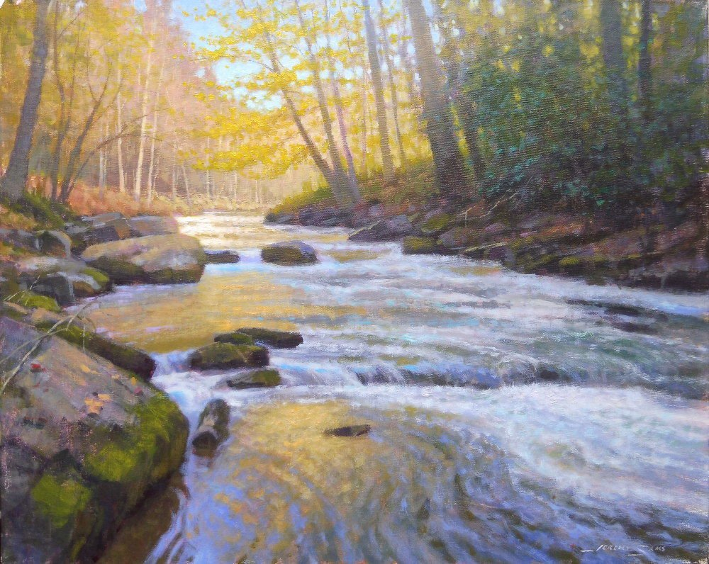 'Around the Bend' (16 x 20) by Jeremy Sams in acrylics depicts the Watauga River. This piece is on display at the Alta Vista Gallery in Valle Crucis.