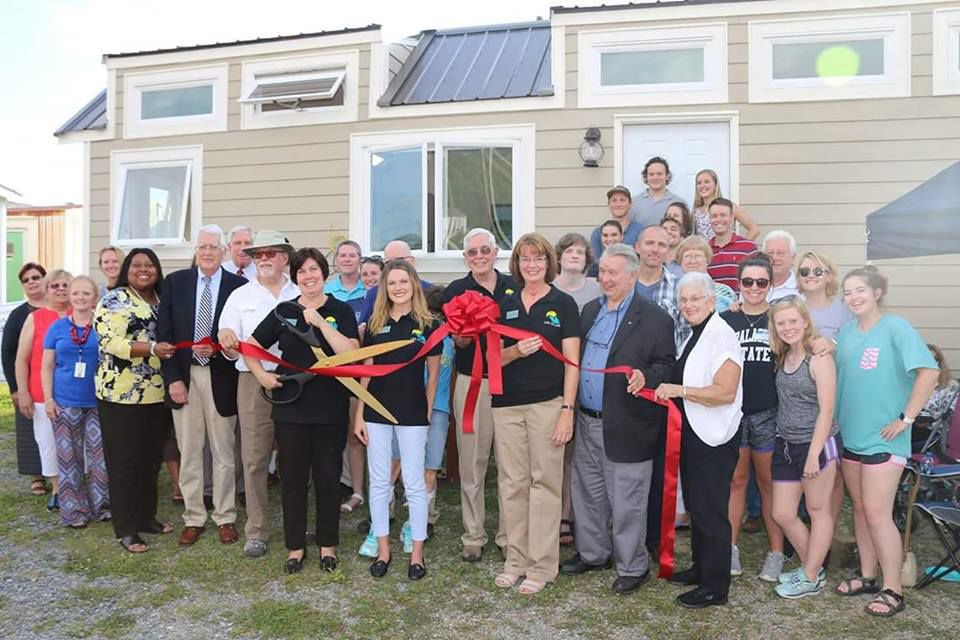 LIFE Village held a ribbon cutting ceremony in August 2018 for the tiny house built by the Construction and Design class at Appalachian State University