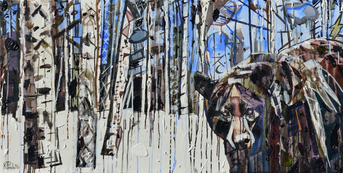 "'Bear in the Birch Trees' (36"" x 72"")"