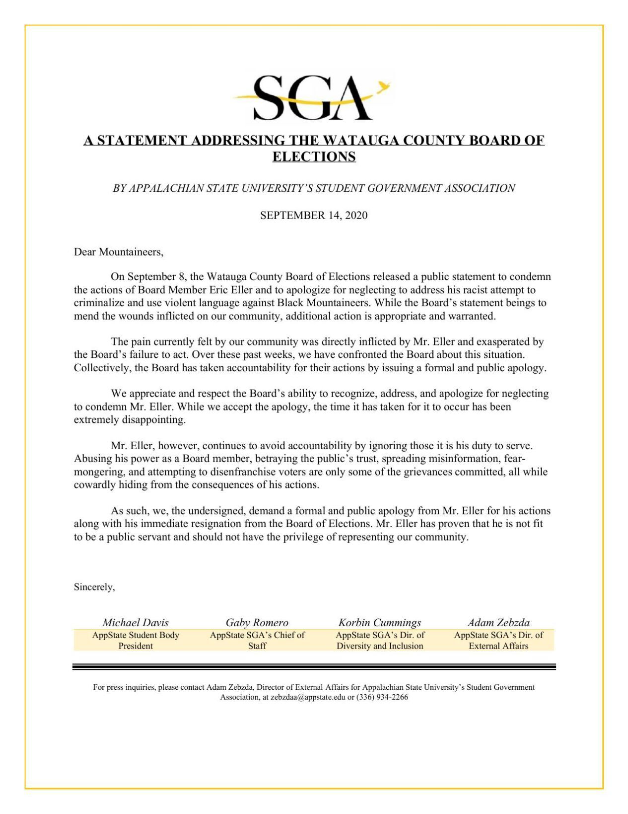 Student Government Association Sept. 14 statement