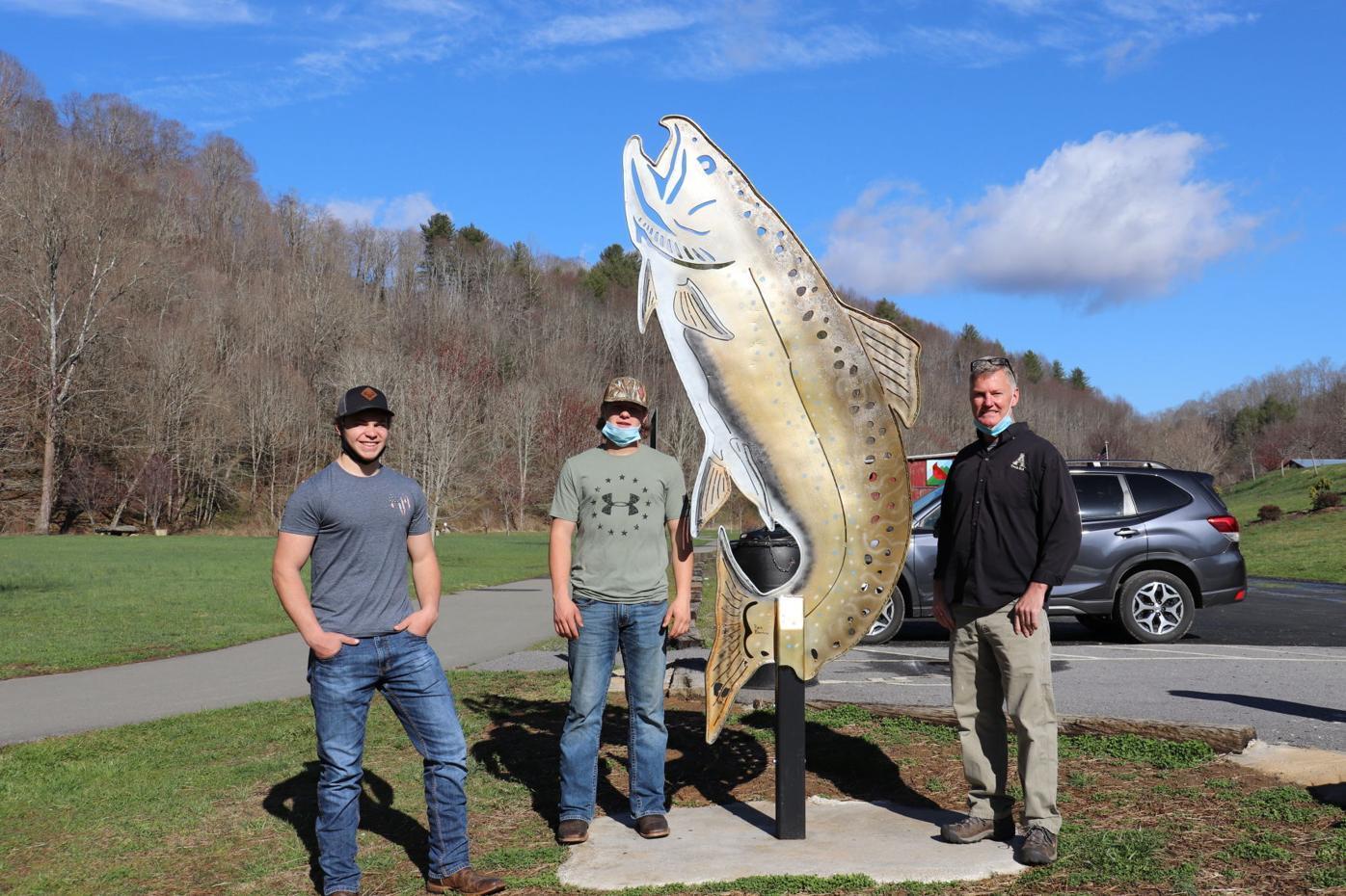 Lansing fish sculpture painted