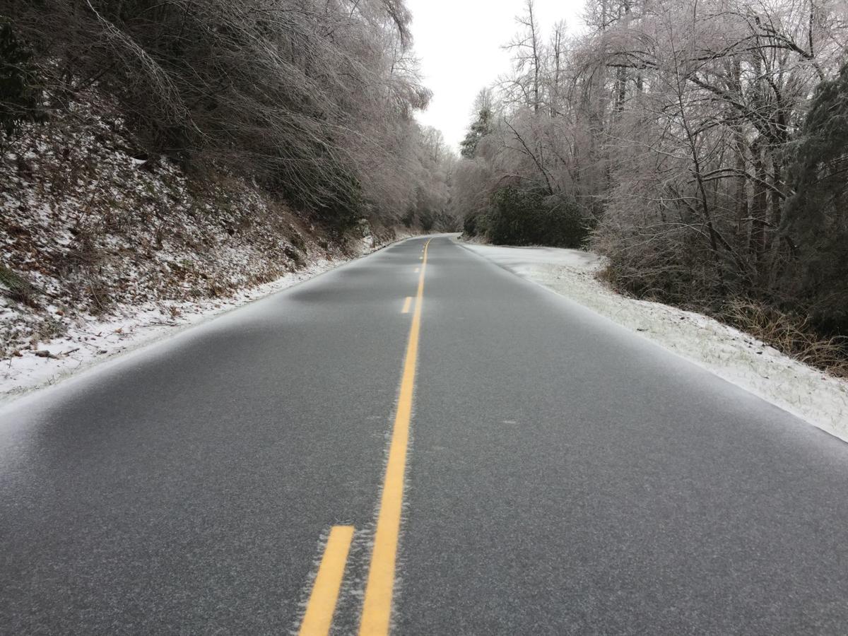 Blue Ridge Parkway coated in ice