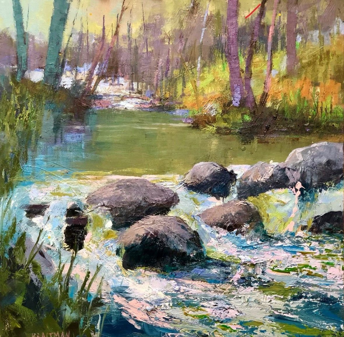 'Summer in the Mountains' by Andrew Braitman (40 x 40) on canvas in the Carlton Gallery