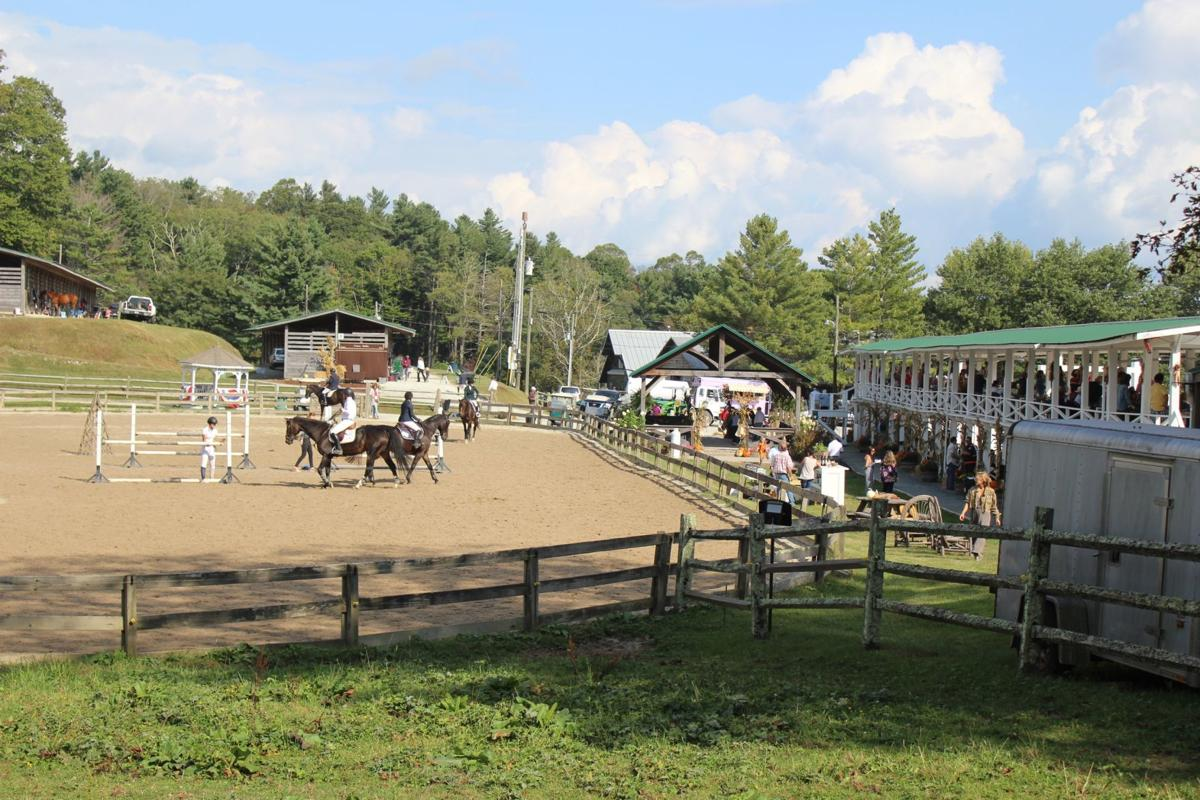 The schooling area is for riders and horses to warm up before entering the arena to run the course.