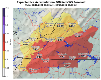 NWS Ice accumulation predictions