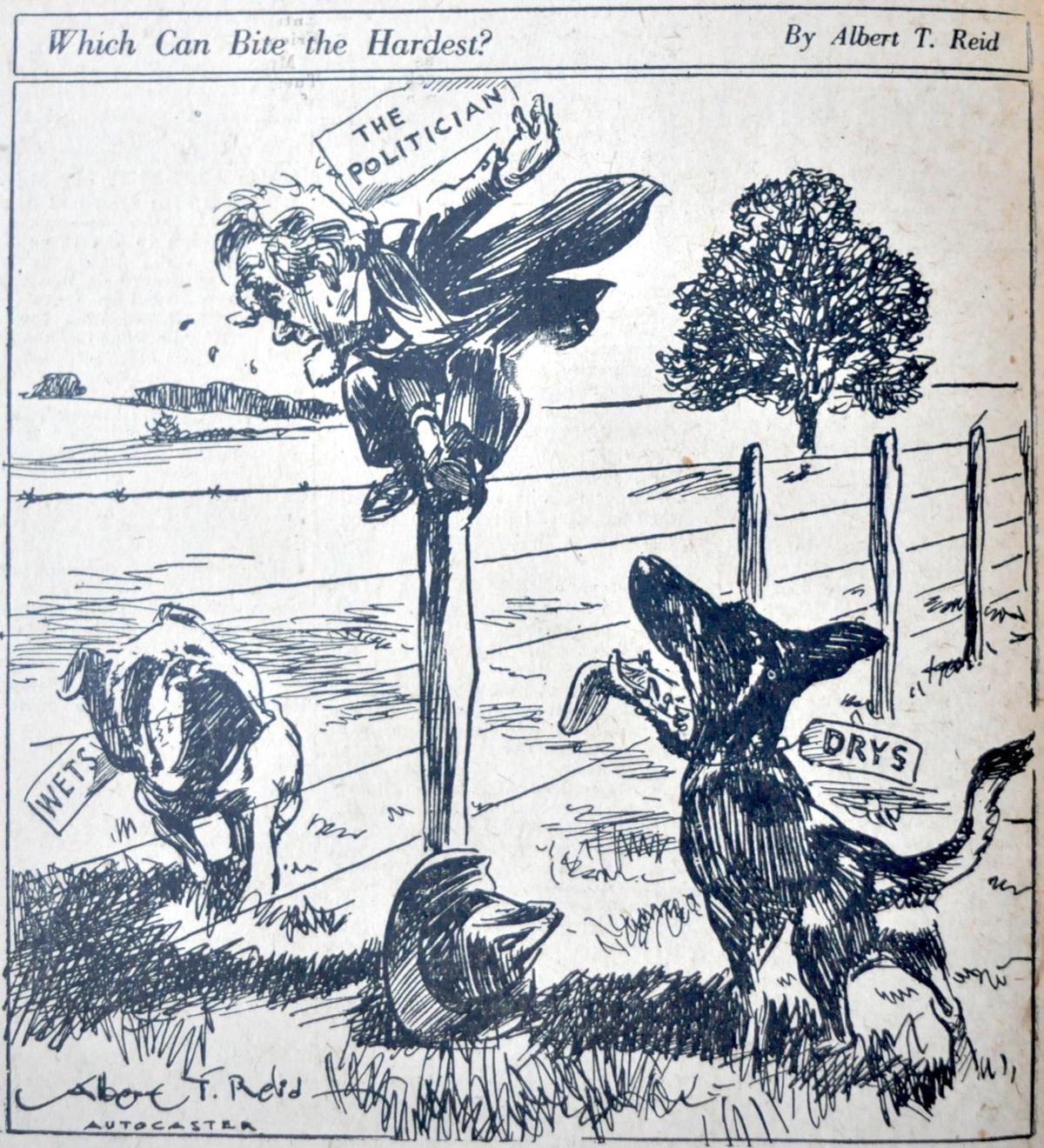 Prohibition era political cartoon