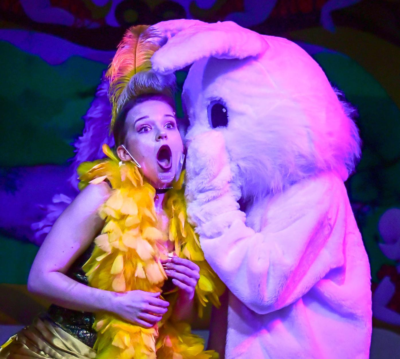 Easter bunny with can-can girl