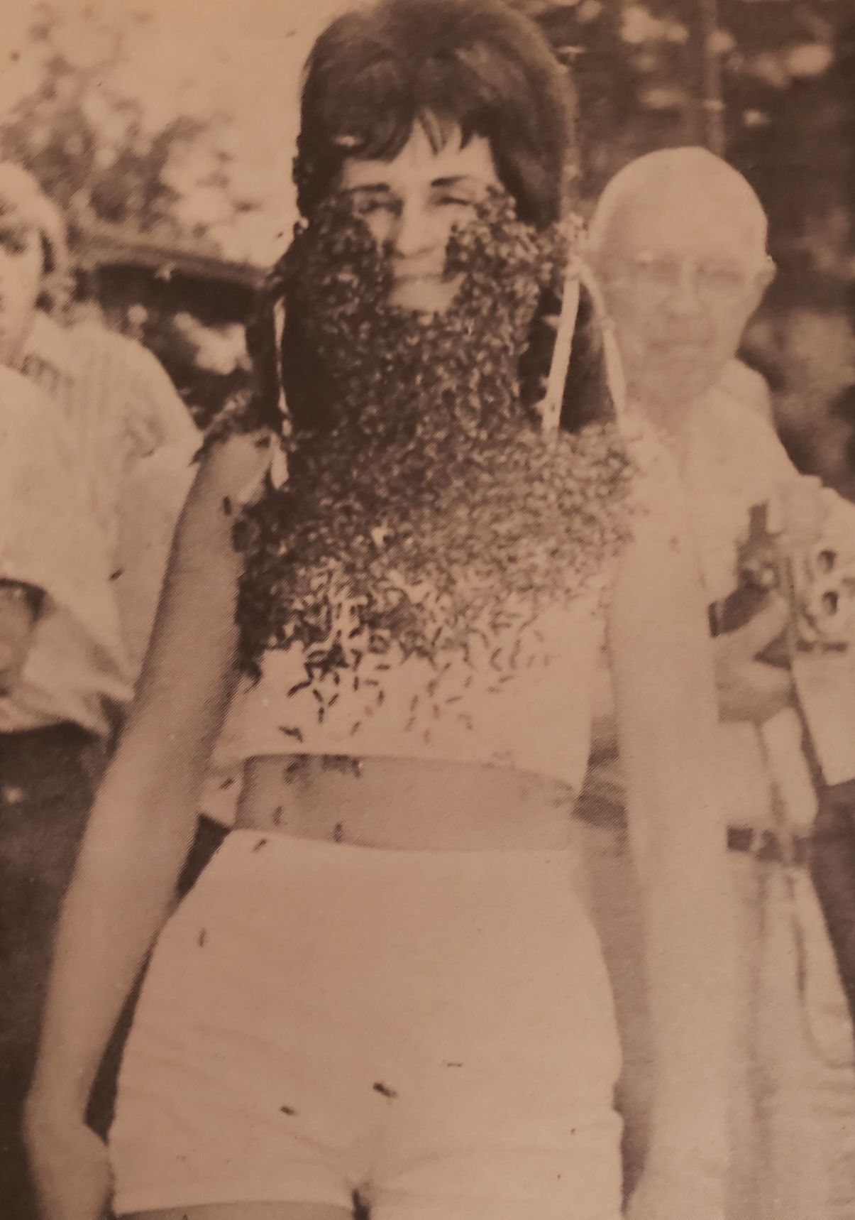 Virginia Presnell Harmon with a bee beard in 1971.