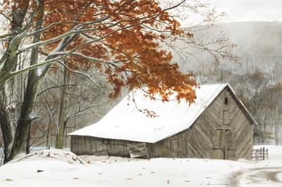 'Early Winter Dusting' by Jason Drake in watercolor on paper is now on display at Blowing Rock Frameworks and Gallery.