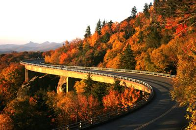 Viaduct at sunrise in fall