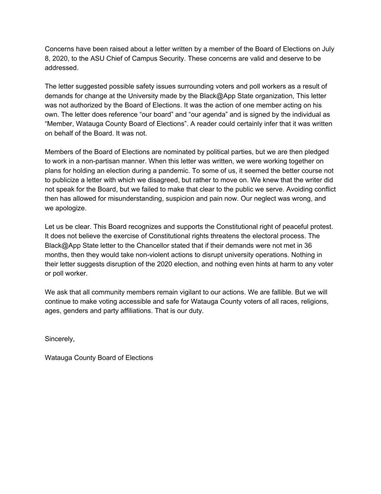 Board of Elections Sept. 8 letter