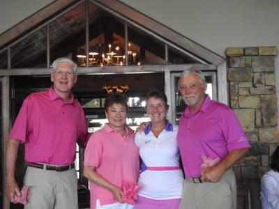 Aubrey and Jeanne Cochran and Peggy and David Frum support breast cancer research at the 12th annual Play for P.I.N.K.