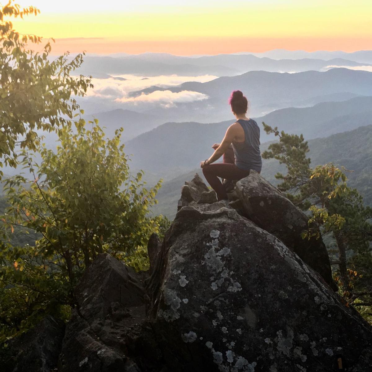 Cynthia Viola overlooking mountains