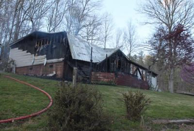 The home at 184 Will T. Baird Road, which caught fire due to a misplaced lawnmower.
