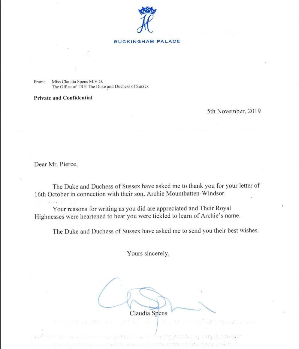 Archie Pierce letter