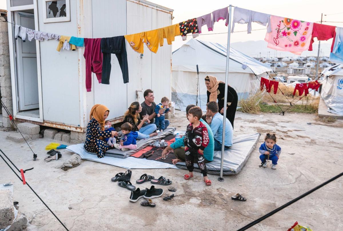Family under clothesline