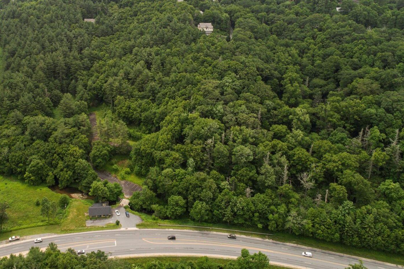 Aerial view closeup of Headwaters property to become treetop cabins