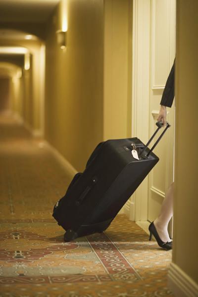 Entering a hotel room