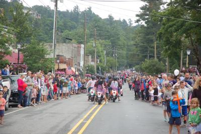 Crowds watch the parade
