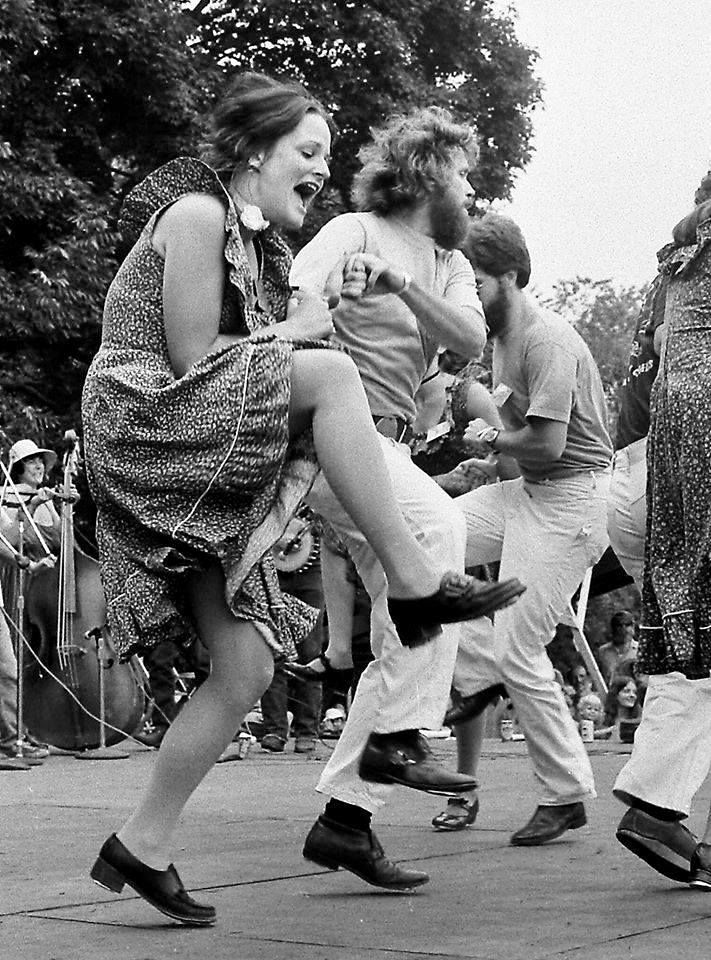 Eileen Carson Schatz and Rodney Sutton Photo by Jamie Downs taken at Philly Folk Festival 1976.
