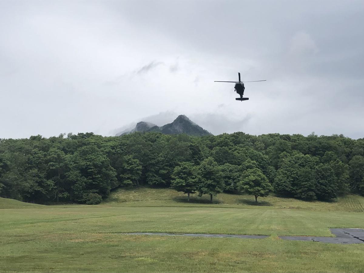 Black Hawk approaches MacRae Meadows