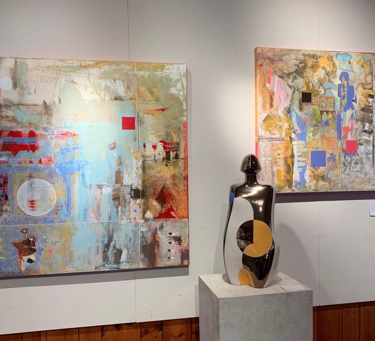 Sculpture and paintings by Mary Ann Prack on the Ashe County Studio Tour.