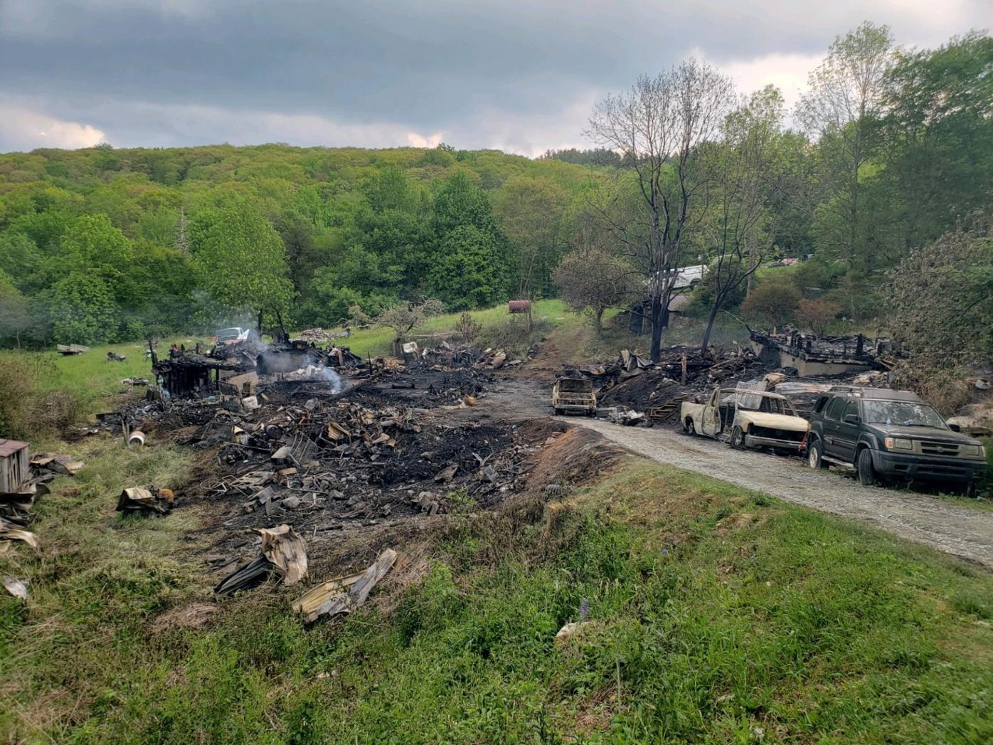 218 Old Mountain Road fire near Beech Mountain