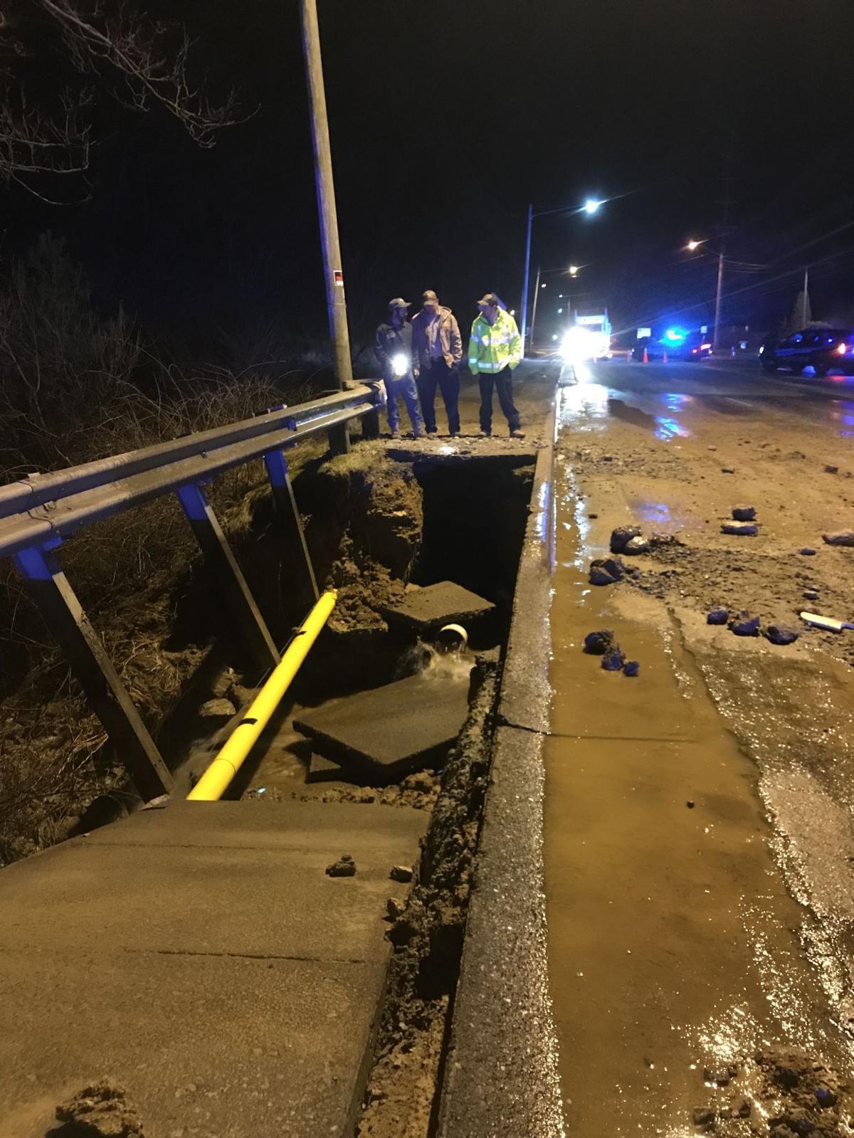 Collapsed sidewalk