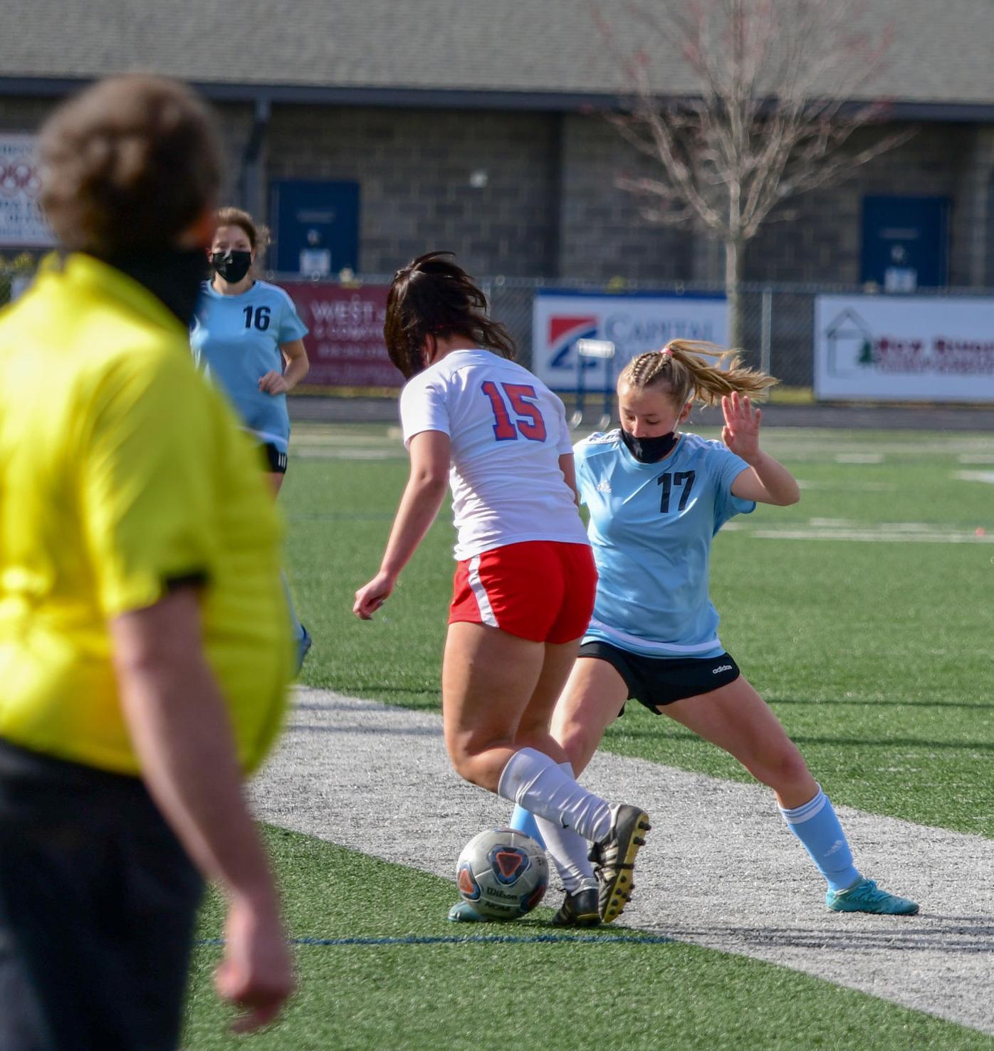Katie Durham battles for possession