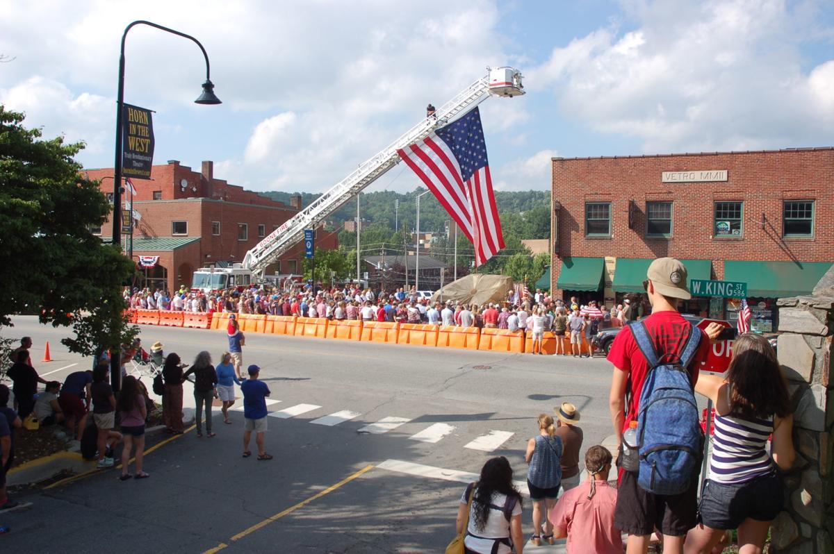 Crowd at memorial unveiling
